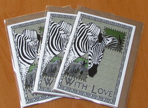 Zebra - Wildlife Art Greeting Card - With Love