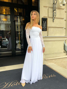 Off Shoulder Chiffon Wedding Dress-Wedding Dress-Ivory and Kate