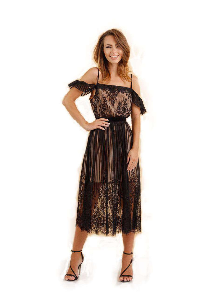 Sheer off sleeve Boho Lace Midi Dress