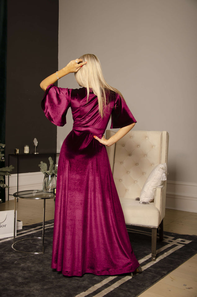 Marsala Velvet Flutter Sleeve Long Wrap Dress