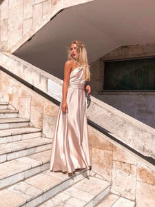 Champagne Off Shoulder Dress-Bridesmaid Dresses-Ivory and Kate