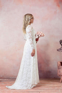 Long Soft Lace Wedding dress-Wedding Dress-Ivory and Kate