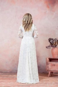 Long Soft Lace Wedding dress