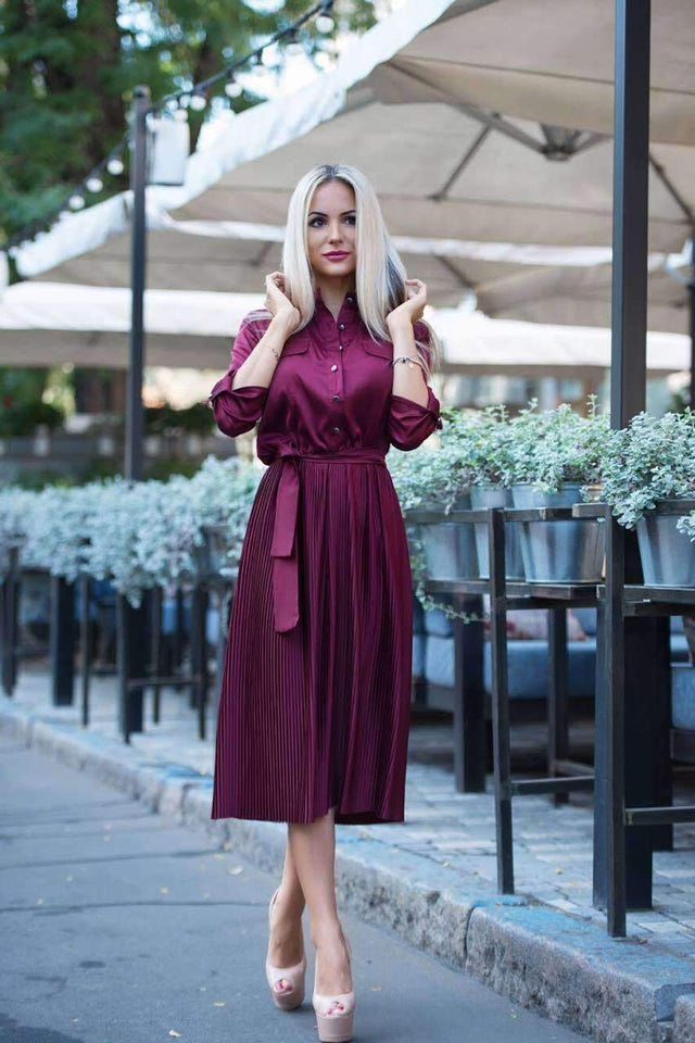 Mauve Bridesmaid Pleated Skirt Dress