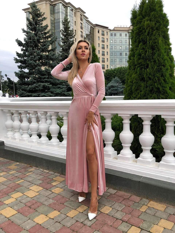 Mauve Velvet Evening Long Dress