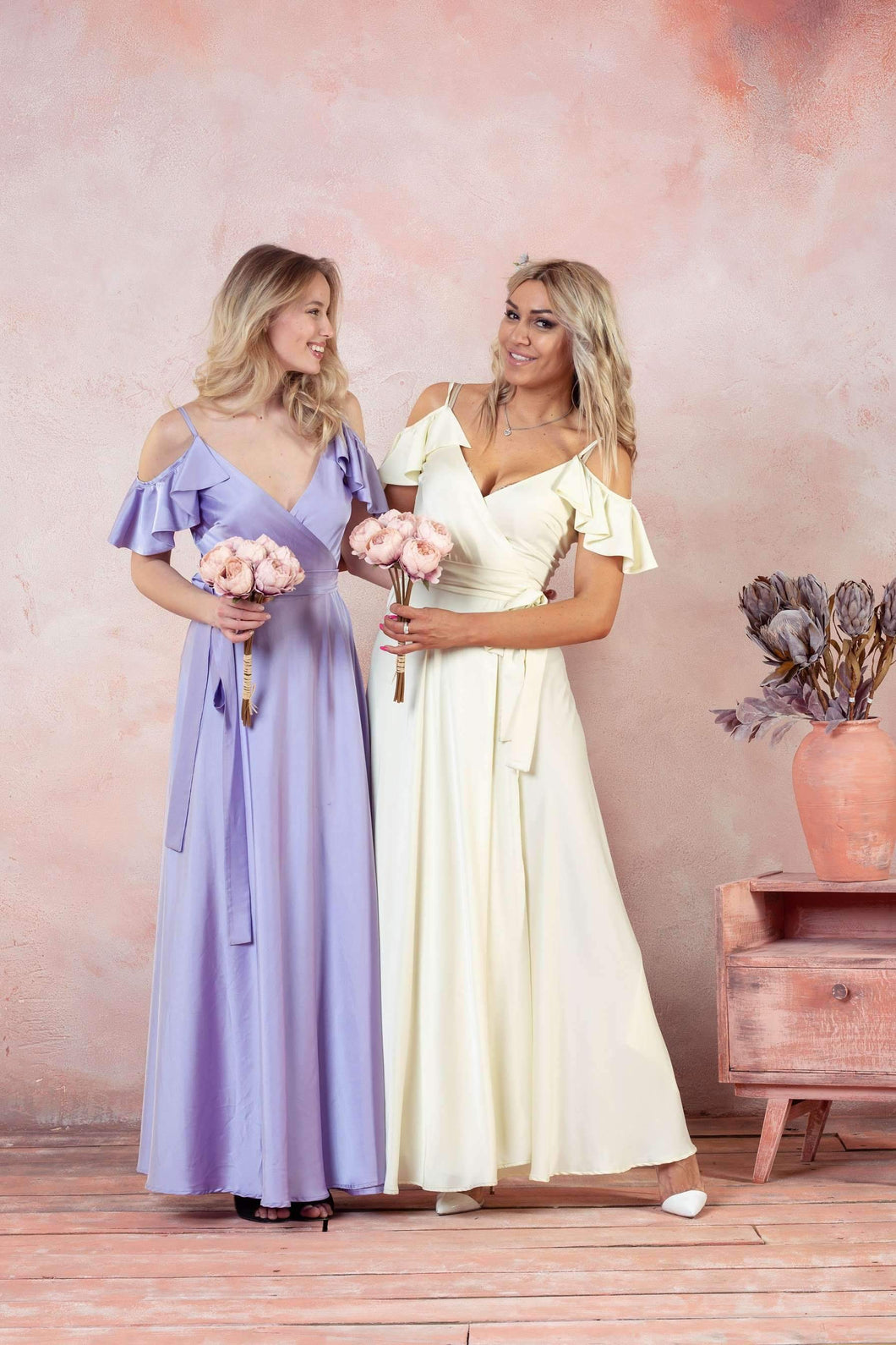 Bohemian Ruffle Sleeves Prom Cocktail Maxi Dress-Bridesmaid Dresses-Ivory and Kate