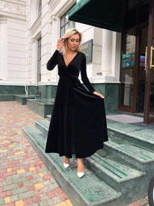 Black Velvet Long Sleeve Dress