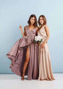 Pink Bridesmaid Wrap Party Dress