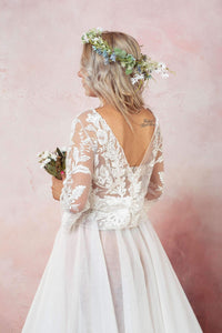 Lace Backless Tulle Wedding Dress-Wedding Dress-Ivory and Kate