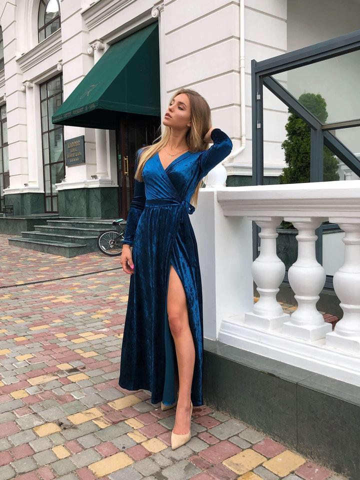 Aquamarine Velvet Bridesmaid Dress