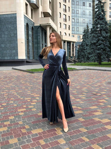 Dark Gray Velvet Wrap Dress-Bridesmaid Dresses-Ivory and Kate