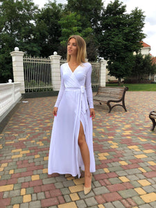 Navy Blue Long Sleeve Boho Maxi Dress-Bridesmaid Dresses-Ivory and Kate