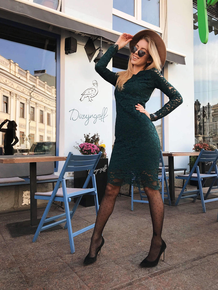 Emerald Green Lace Bodycon Retro Dress