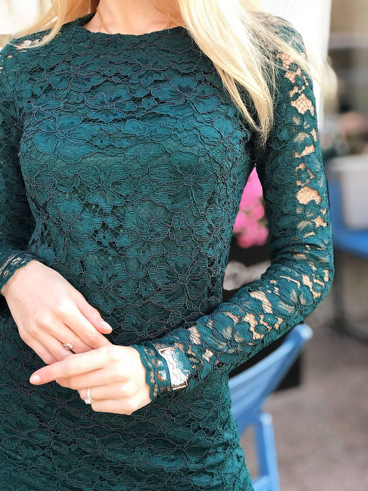 Emerald Green Lace Bodycon Retro Dress-Prom Dress-Ivory and Kate