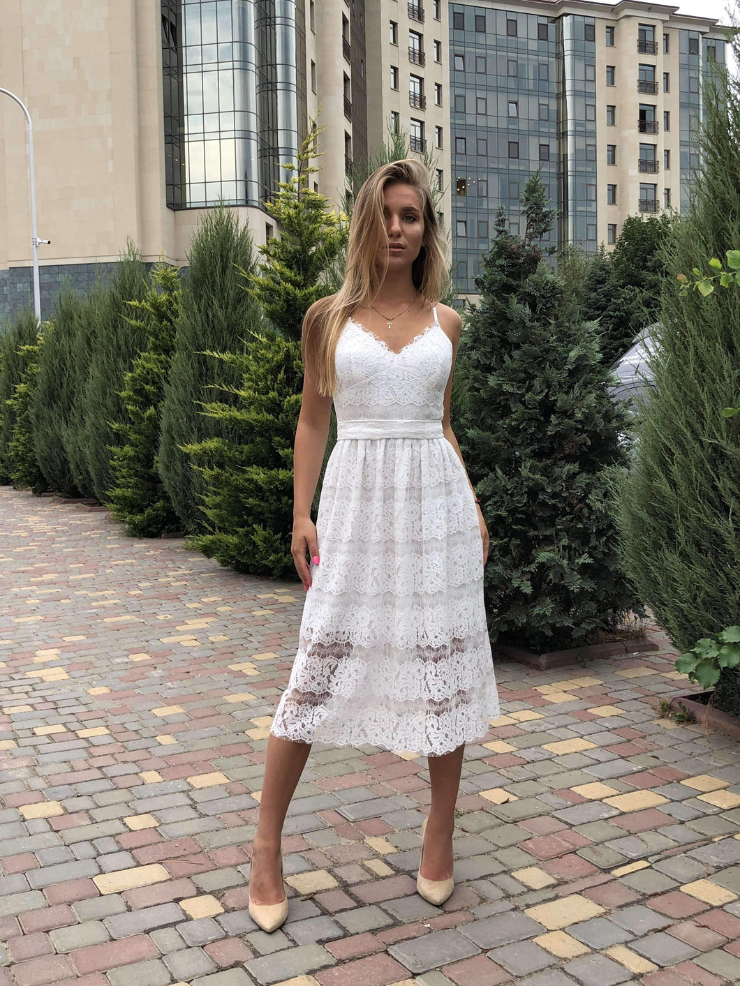 White Lace Homecoming Dress