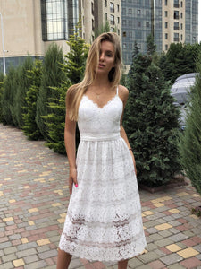 White Lace Homecoming Dress-Homecoming Dress-Ivory and Kate