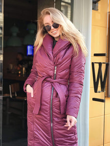 Burgundy Winter Down Coat-Down Coats-Ivory and Kate