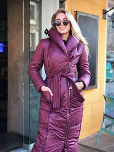 Lilac Wrap Puffer Coat-Down Coats-Ivory and Kate
