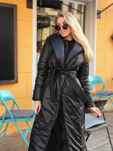 Winter Black Wrap Puffer Coat