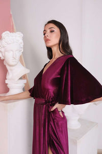 Light Cappuccino Velvet Flutter Sleeve Long Wrap Dress-Bridesmaid Dresses-Ivory and Kate