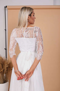 White Romantic Wedding A-Line Boho Lace Dress-Wedding Dress-Ivory and Kate
