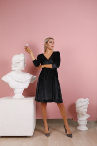 Black Short Velvet Wrap Dress-Bridesmaid Dresses-Ivory and Kate