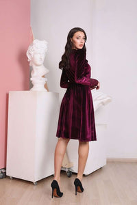 Marsala Velvet Long Sleeve Dress with Lace Incut-Bridesmaid Dresses-Ivory and Kate