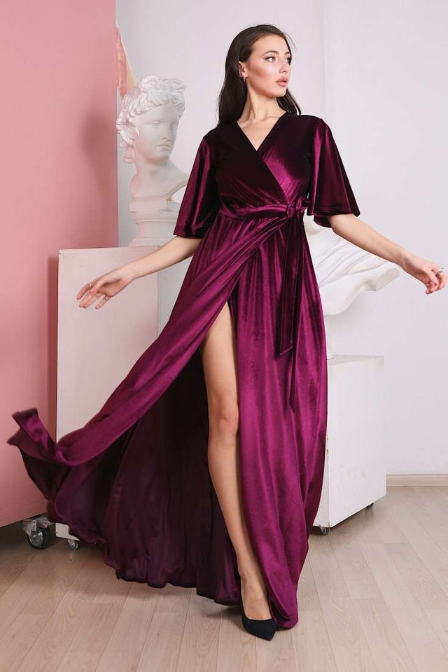 Marsala Velvet Flutter Sleeve Long Wrap Dress-Bridesmaid Dresses-Ivory and Kate