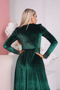 Emerald Green Bridesmaid Velvet Long Sleeve Lace Dress-Bridesmaid Dresses-Ivory and Kate