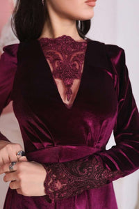Marsala Velvet Long Sleeve Dress with Lace Incut