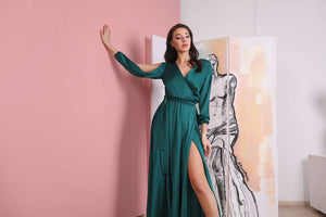 Emerald Green Cut Out Sleeve Wrap Maxi Dress-Bridesmaid Dresses-Ivory and Kate