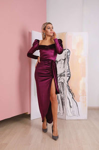 Marsala Velvet Off Shoulders Maxi Dress-Bridesmaid Dresses-Ivory and Kate