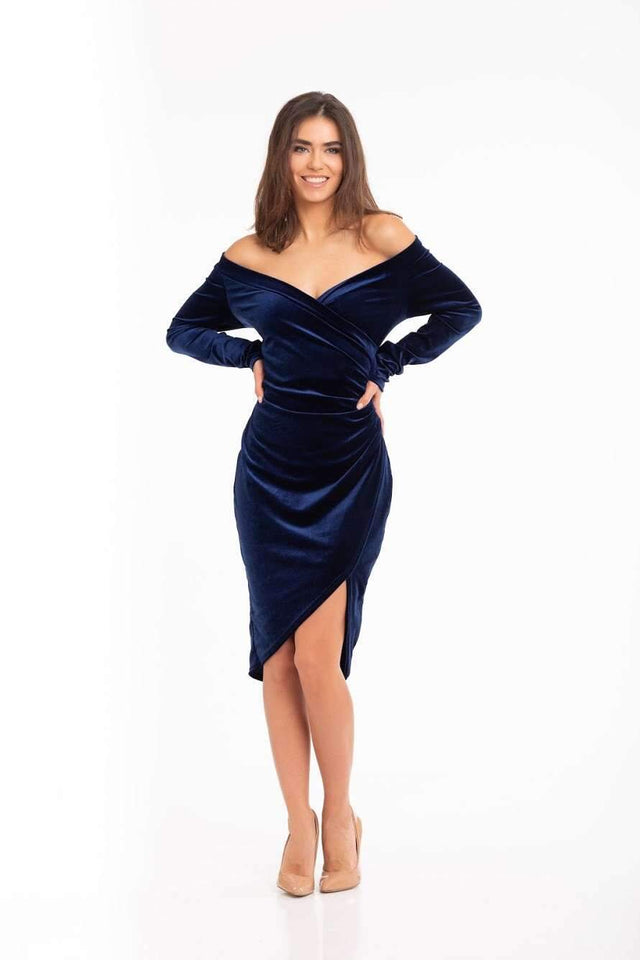 Navy Blue Asymmetrical Velvet Cut Out Off Shoulder Cocktail Prom Dress-Prom Dress-Ivory and Kate
