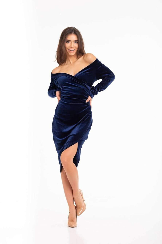Navy Blue Asymmetrical Velvet Cut Out Off Shoulder Slip Cocktail Prom Dress