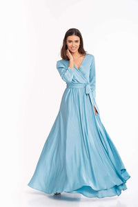 Sky Blue Bridesmaid Bohemian Boho Maxi Dress-Bridesmaid Dresses-Ivory and Kate