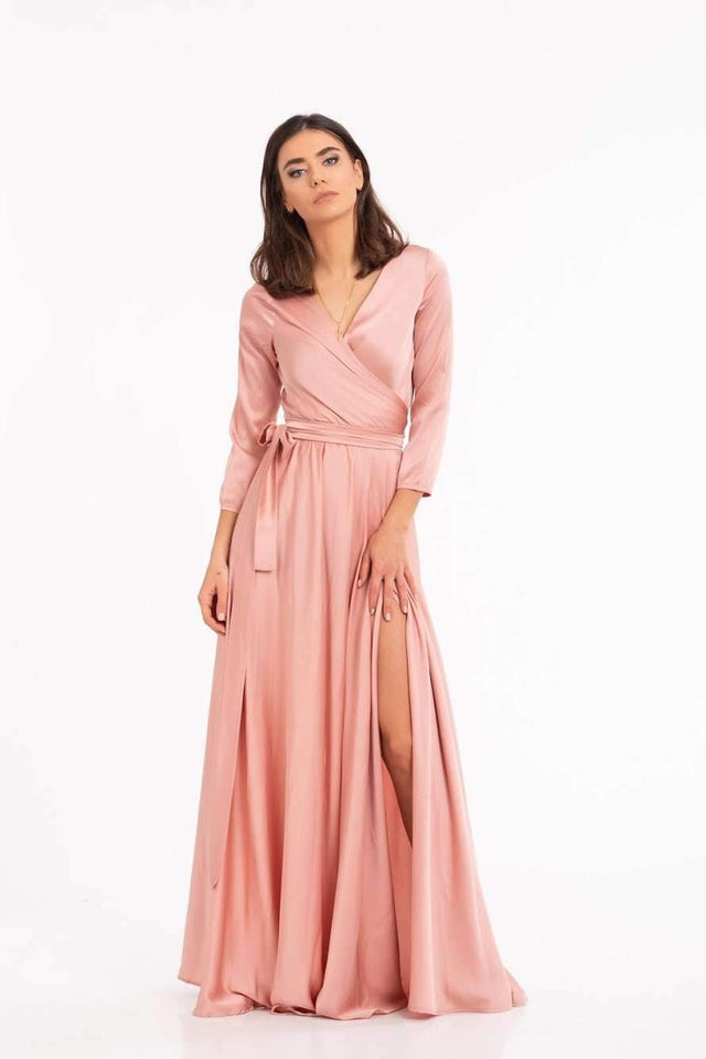 Rose Gold Elegant Long Maxi Dress-Bridesmaid Dresses-Ivory and Kate