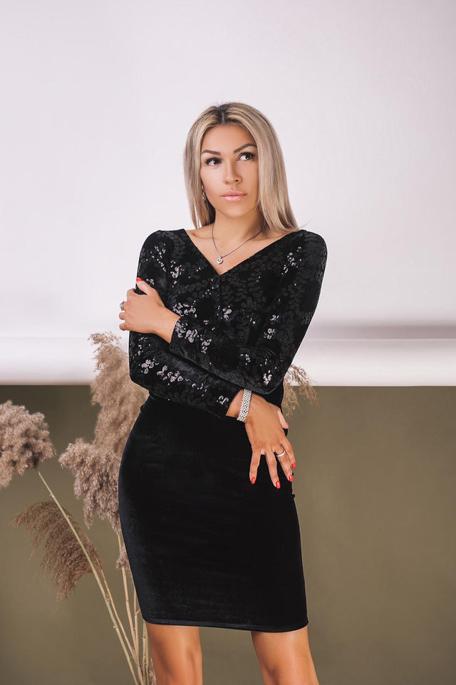 Black Short Glitter Prom Long Sleeve Dress-Prom Dress-Ivory and Kate