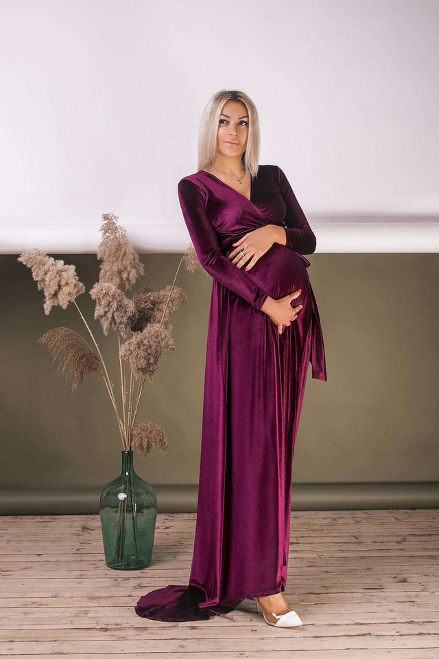 Emerald Green Velvet Long Sleeve Maternity Wrap Dress With Train-Bridesmaid Dresses-Ivory and Kate