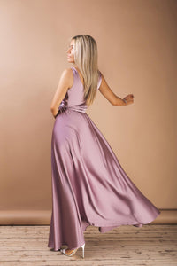 Mauve Maternity Wrap Maxi Dress-Bridesmaid Dresses-Ivory and Kate