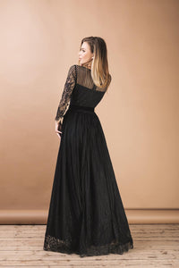 Black Romantic Wedding A-Line Boho Lace Dress