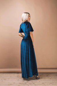 Dark Teal Velvet Flutter Sleeve Long Wrap Dress-Bridesmaid Dresses-Ivory and Kate