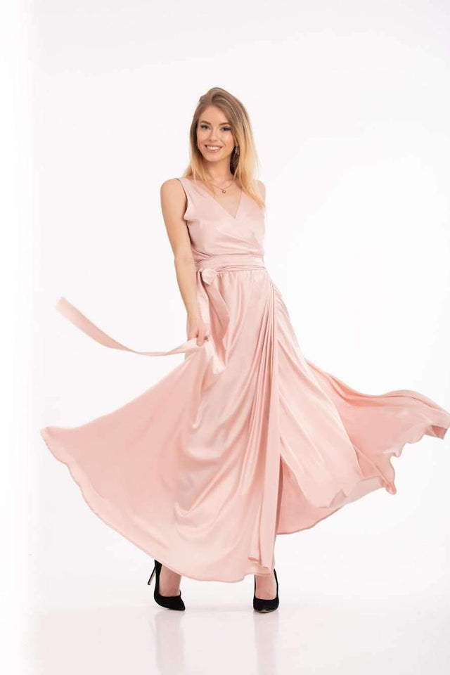 Pink Bridesmaid Wrap Party Dress-Bridesmaid Dresses-Ivory and Kate