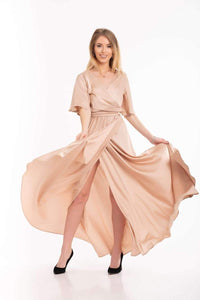 Light Pink Bridesmaid Flutter Sleeve Maxi Dress-Bridesmaid Dresses-Ivory and Kate