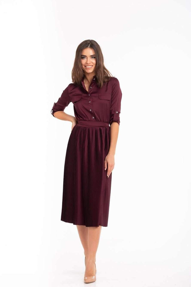 Burgundy Bridesmaid Pleated Skirt Dress-Bridesmaid Dresses-Ivory and Kate