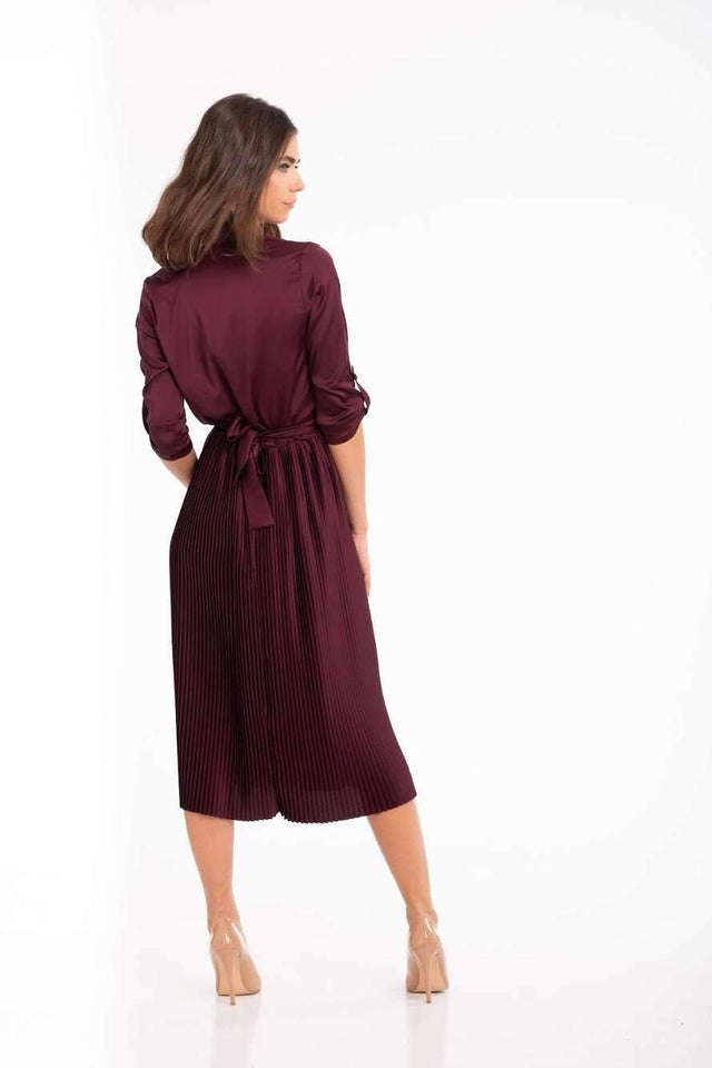 Burgundy Bridesmaid Pleated Skirt Dress