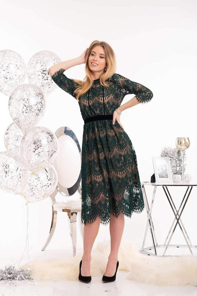 Emerald Green Sheer Lace Midi Dress-Formal Dress-Ivory and Kate