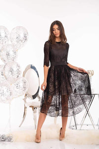 Black Soft Lace Midi Dress