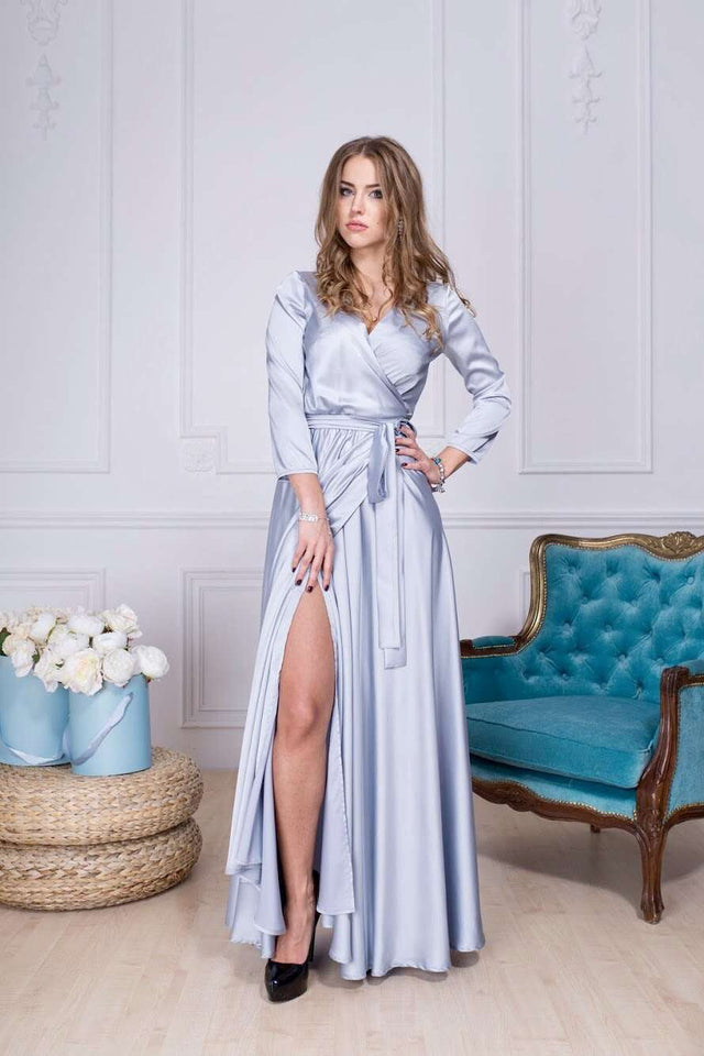 Aquamarine Bridesmaid Boho Long Dress