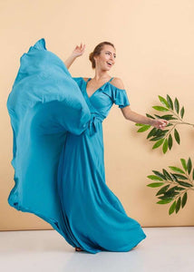 Turquoise Bridesmaid Ruffle Sleeves Maxi Dress-Bridesmaid Dresses-Ivory and Kate
