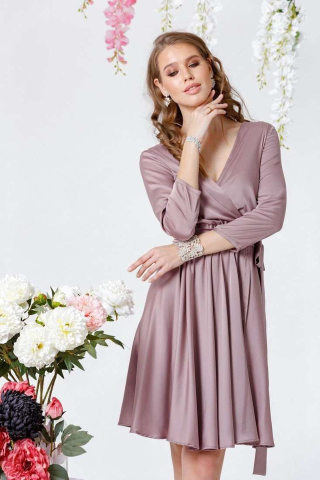 Mauve Elegant Bridesmaid Short Summer Dress-Bridesmaid Dresses-Ivory and Kate